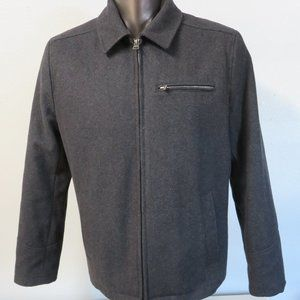 Levi's Wool Jacket Solid Gray Lined Full Zip Sz M